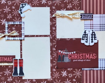 Good Tidings of Cheer - Homemade Christmas 2 Page Scrapbooking Layout Kit or Premade Scrapbooking Pages Christmas diy craft kit