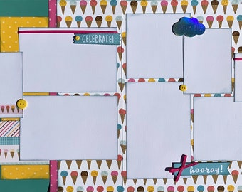 Celebrate, Dream Big Happy Birthday 2 Page Scrapbooking layout KIt or Premade Scrapbooking Pages Birthday diy craft kit