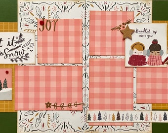 Let It Snow, Bundled Up With You - Winter  2 Page Scrapbooking Layout Kit or Premade Scrapbooking Pages winter diy craft kit snowman craft