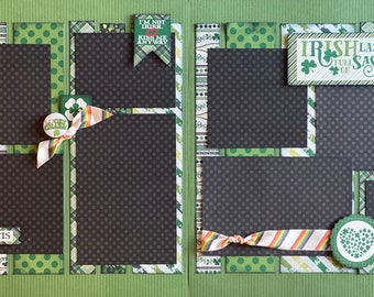 Irish Lass Full of Sass - Lucky Charm  2 page Scrapbooking Layout Kit or Premade Pages