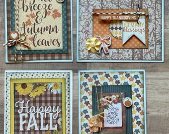 Autumn Splendor  Themed Card Kit Set   - 4 pack DIY Card Kit Fall Card Craft DIY