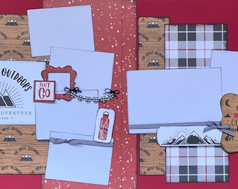 The Great Outdoors, Let's Go On An Adventure 2 page Scrapbooking Layout Kit or Premade Scrapbooking Pages,  diy craft kit Travel craft kit