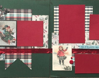 Cold Hands Warm Heart  - Winter 2 page Scrapbooking Layout Kit or Premade Scrapbooking Pages