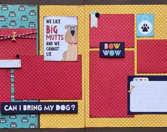 We Like Big Mutts and We Cannot Lie Scrapbooking 2 Page Scrapbooking Layout Kit or Premade Scrapbooking Pages Dog diy craft kit