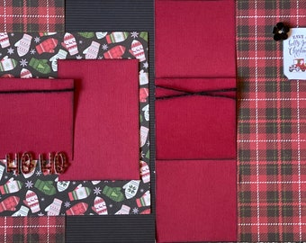 Ho, Ho, Ho - Have a Holly Jolly Christmas 2 Page Scrapbooking Layout Kit or Premade Scrapbooking Pages Christmas diy craft kit