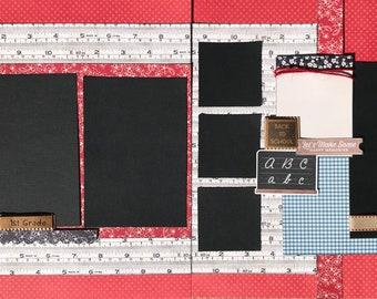 First Grade Scrapbooking DIY Page Kit or Pre-Assembled Pages, DIY first grade craft kit, 1st grade kit