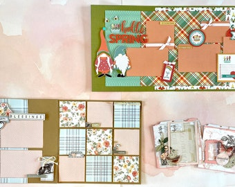 NOCO Crop Stop Kit of the Month - March / Spring - 2 page Scrapbooking Layout Kits, 1 Mixed Media Project