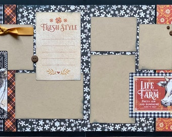 Life on the Farm - Fresh Style  2 Page Scrapbooking Layout Kit or Premade Scrapbooking Pages farm diy craft kit