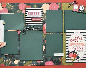 Change the World, Start with Coffee 2 page Scrapbooking Layout Kit or Premade Scrapbooking Pages COFFEE DIY Craft Kit