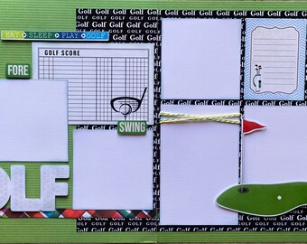 Eat, Sleep, Play Golf 2 page Scrapooking Layout Kit or Premade Scrapbooking Pages