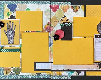 Recorded /General Theme 2 Page Scrapbooking Layout Kit or Pre Assembled Scrapbooking Pages.  Family diy scrapbook kit, Family craft