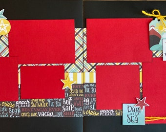 Let's Cruise - Day at Sea 2 page scrapbooking layout Kit or Premade Scrapbooking Pages