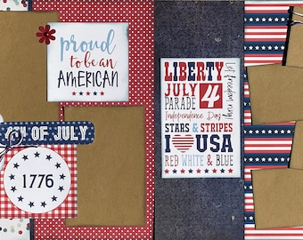 If it Involves Fireworks, Summer Nights, Barbecues ... 2 Page Scrapbooking Layout Kit or Pre Made Pages Fourth of July diy craft diy kit