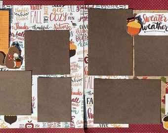 Hello Fall - Sweater Weather 2 Page Scrapbooking Layout Kit or Pre-Made Scrapbooking Pages