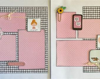 Game Night 2 Page Scrapbooking Layout Kit, family scrapbooking diy craft kit, BFF Craft kit