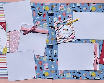 I'm a Mom, What's Your Super Power?  Good Moms Have Sticky Floors...2 page Scrapbooking Layout Kit or Premade Scrapbooking Pages