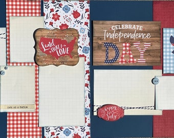 All American Girl Land that I Love 2 Page Scrapbooking Layout Kit or Pre Made Pages Fourth of July diy craft kit scrapbooking diy patriotic