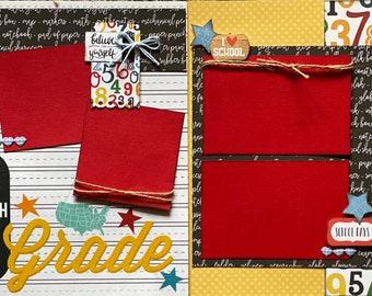 5th Grade Scrapbooking Kit Bundle -  4 page Scrapbooking Layout Kit or Pre Made Pages - 2 - 2 Page layout kits school diy craft bundle