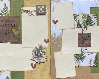 Not All Who Wander Are Lost 2 page Scrapbooking Layout Kit or Premade Scrapbooking Pages camp diy craft kit hiking  craft