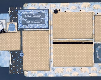 Cold Hands, Warm Heart  2 page Scrapbooking Layout Kit or Premade Scrapbooking Pages