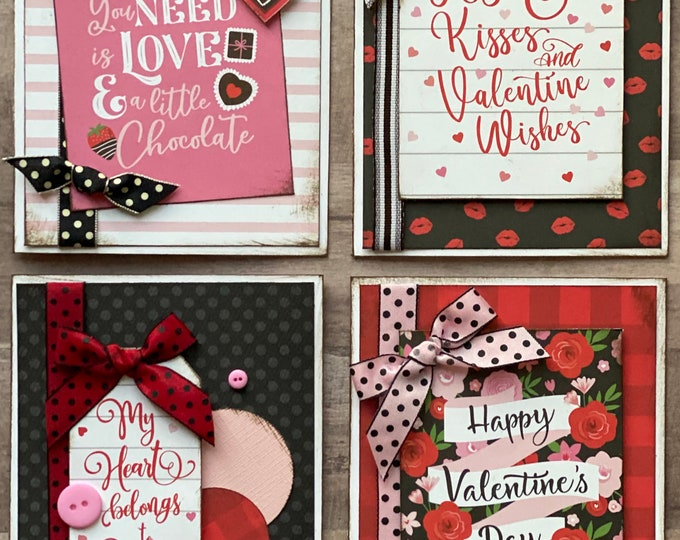 Featured listing image: Hugs and Kisses and Valentine Wishes - Valentine Themed Card Kit- 4 pack DIY Valentine Card Making Kit Diy love craft