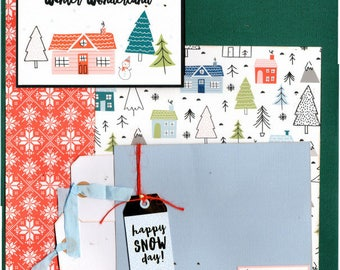 Winter Wonderland  - Happy Snow Day - Winter 2 Page Scrapbooking layout Kit