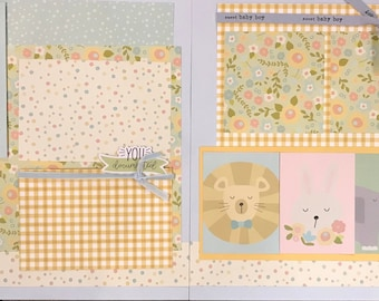 You are My Sun, My Moon and All of My Stars  - Sweet Baby Boy 2 page Scrapbooking Layout Kit or Pre Made Pages
