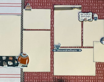 Hot Cocoa and Warm Hugs - Better Together 2 page Scrapbooking Layout Kit or Premade Scrapbooking Pages