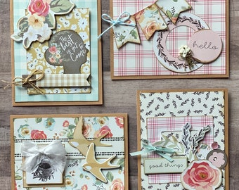 Gingham Garden  Themed Card Kit- 4 pack
