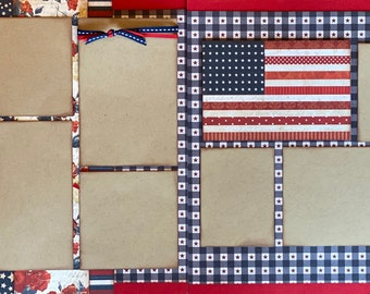Hooray for the Red, White and Blue 2 Page Scrapbooking Layout Kit or Pre Made Pages