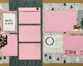 Winter is Here, Stay Cozy - Winter  2 Page Scrapbooking Layout Kit or Premade Scrapbooking Pages winter diy craft kit snowman craft