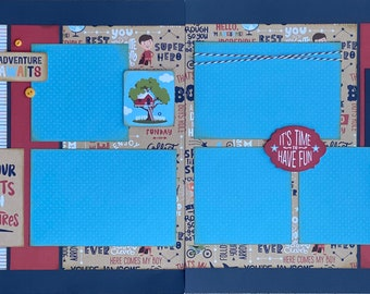 Fill Your Pocket With Adventures 2 page Scrapbooking layout kit or Premade Scrapbooking Pages
