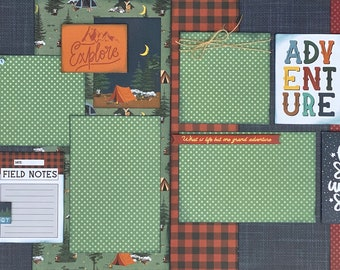 Take a Hike - Let's Get Lost 2 page Scrapbooking Layout Kit or Premade Scrapbooking Pages camp diy craft kit hike craft
