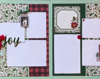 Home for the Holidays - Joy 2 Page Scrapbooking Layout Kit or Premade Scrapbooking Pages Christmas diy craft kit