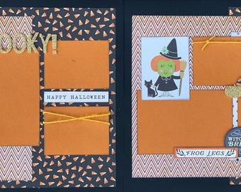 Spooky!  Happy Halloween 2 Page Scrapbooking Layout Kit or Premade Scrapbooking Pages halloween DIY craft kit