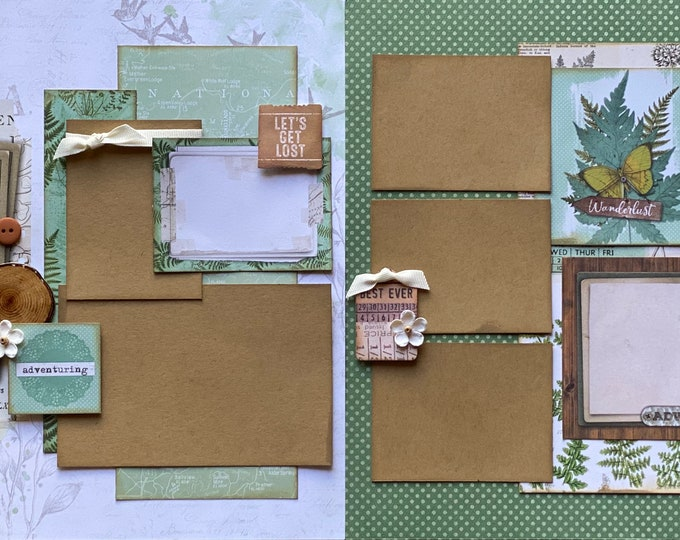Featured listing image: Adventuring - Hike More, Worry Less  2 page Scrapbooking Layout Kit or Premade Scrapbooking Pages camp diy craft kit hiking  craft