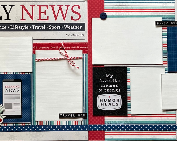 Featured listing image: Daily News #stayhome Quarantine  2 Page Scrapbooking layout KIt