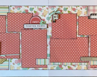 Forever Friend - Sweet Forever Friend 2 page Scrapbooking layout kit or Premade Scrapbooking Pages