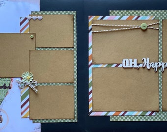 Oh Happy Day - Hot Air Balloons 2 Page Scrapbooking Layout Kit and Premade Scrapbooking Pages DIY Scrapbooking Kit
