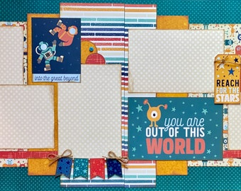 Into the Great Beyond - You Are Out of This World  2 Page Scrapbooking Layout Kit or Premade Scrapbooking Pages