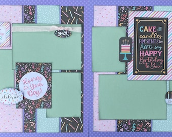 Best Birthday Ever - Hooray, It's Your Day! 2 Page Scrapbooking layout KIt or Premade Scrapbooking Pages Birthday diy craft kit