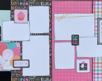 Eat Cake and Be Happy - Party Girl  2 Page Scrapbooking layout KIt or Premade Scrapbooking Pages Birthday diy craft kit
