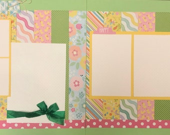 The Hunt is On - Happy Easter 2 Page Scrapbooking Layout Kit or Premade Scrapbooking Pages