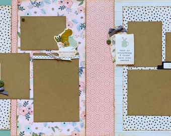 My Happy Place is With You - I Love You 2 Page Scrapbooking Layout Kit or Premade Scrapbooking Pages DIY scrapbook kit