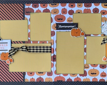 Pumpkin Guts- Pumpkin Carving 2 Page Scrapbooking Layout Kit or Premade Scrapbooking Pages halloween DIY craft kit