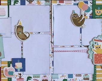 Party Animal Birthday Hooray!  2 Page Scrapbooking layout KIt or Premade Scrapbooking Pages Birthday diy craft kit