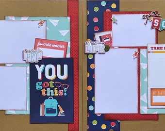 You Got This School  DIY Scrapbooking Kit, 2 page Scrapbooking Layout Kit or Pre Made Pages - School themed diy craft kit, Teachers pet