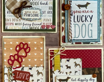 Lucky Dog Themed Card Kit- 4 pack DIY Card making craft kit puppy craft dog craft greeting card craft kit