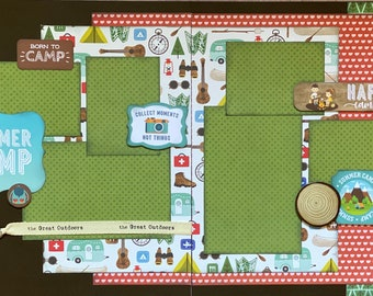 Summer Camp - Happy Campers  2 page Scrapbooking Layout Kit or Premade Scrapbooking Pages camp diy craft kit hike craft