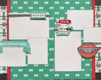 Love Straight Teeth - Me and My Braces 2 Page Scrapbooking Layout Kit or Pre Made Scrapbooking Pages orthodontist craft kit
